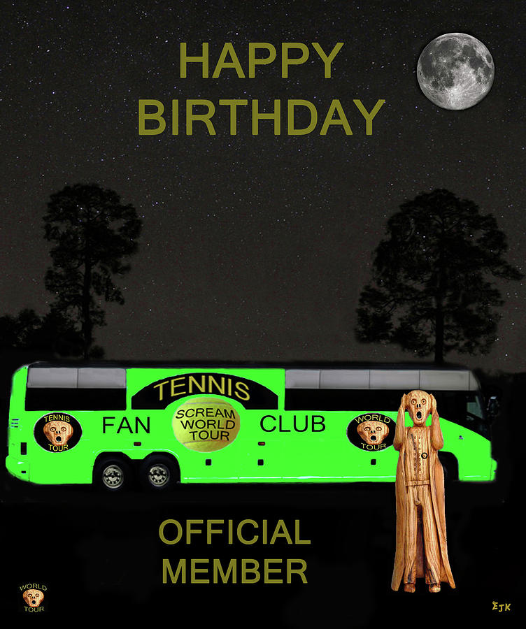 The Scream World Tour Tennis Tour Bus Happy Birthday Mixed Media