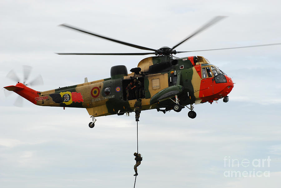 The Sea King Helicopter Of The Belgian Photograph  - The Sea King Helicopter Of The Belgian Fine Art Print