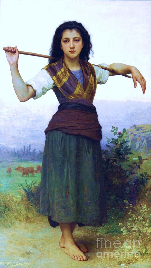 Pd Painting - The Shepherdess by Pg Reproductions