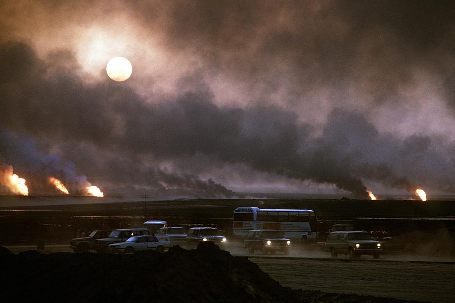 The Smoke From Oil Well Fires Forces Photograph