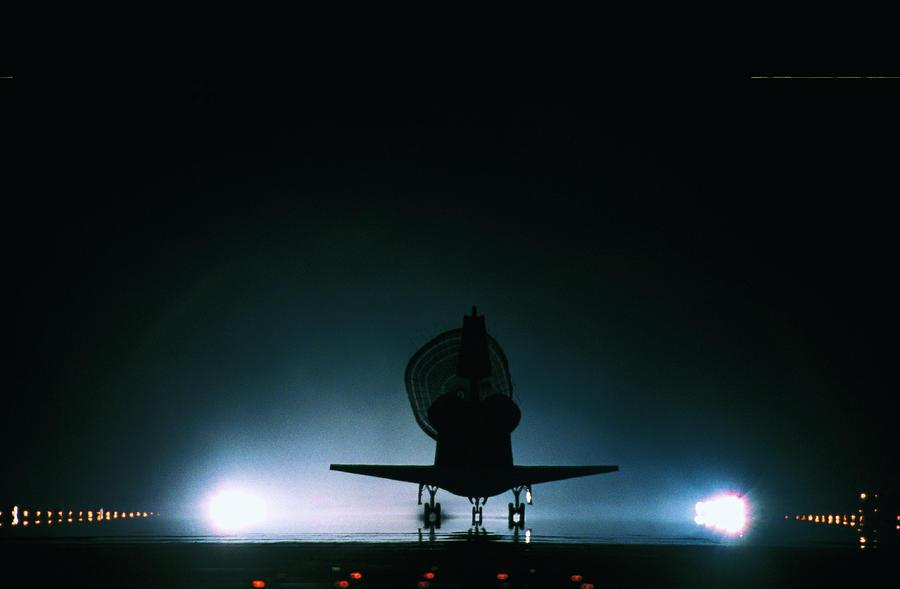 during a space shuttle landing a parachute deploys - photo #23