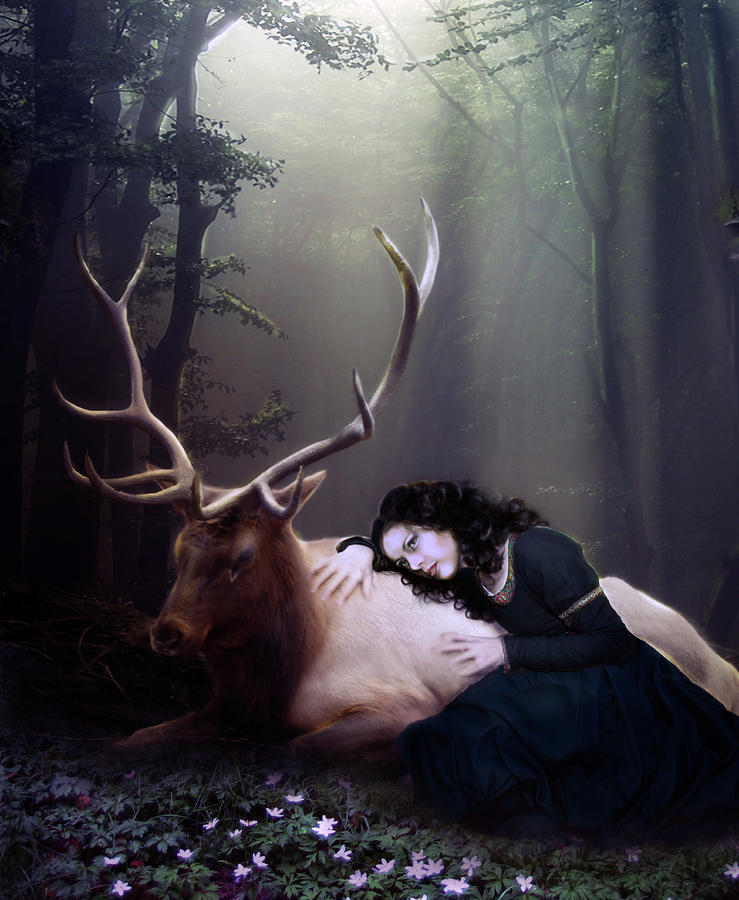 The Stag Digital Art  - The Stag Fine Art Print
