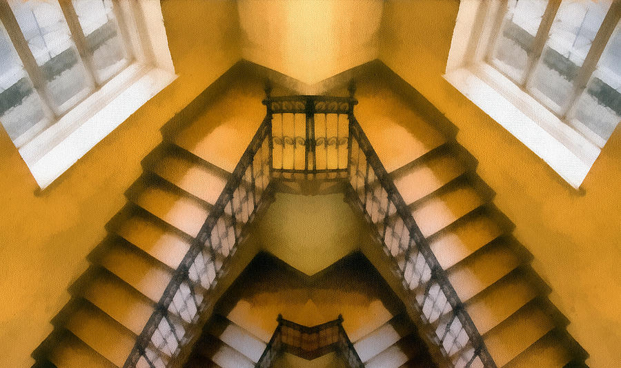 The Staircase Reflection Painting  - The Staircase Reflection Fine Art Print