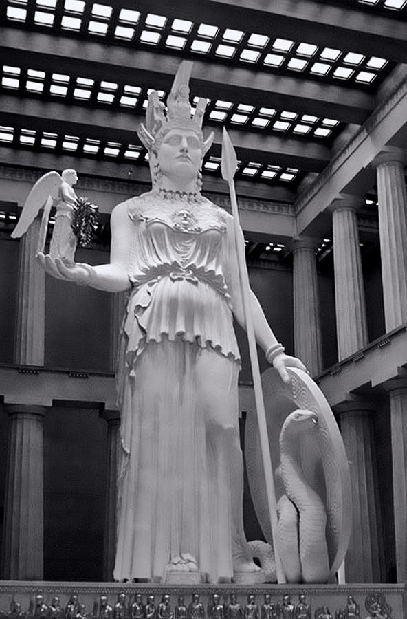 The Statue Of Athena Bw Photograph