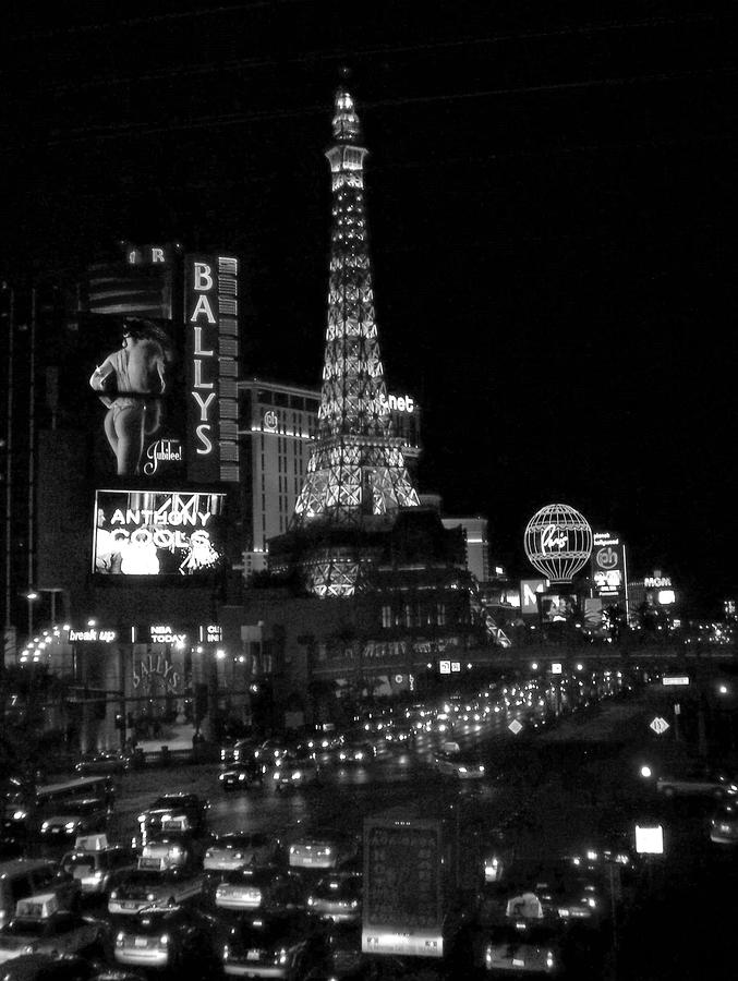 The Strip By Night B-w Photograph