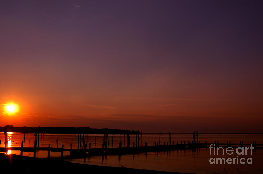The Sun Sets Over The Water Photograph  - The Sun Sets Over The Water Fine Art Print