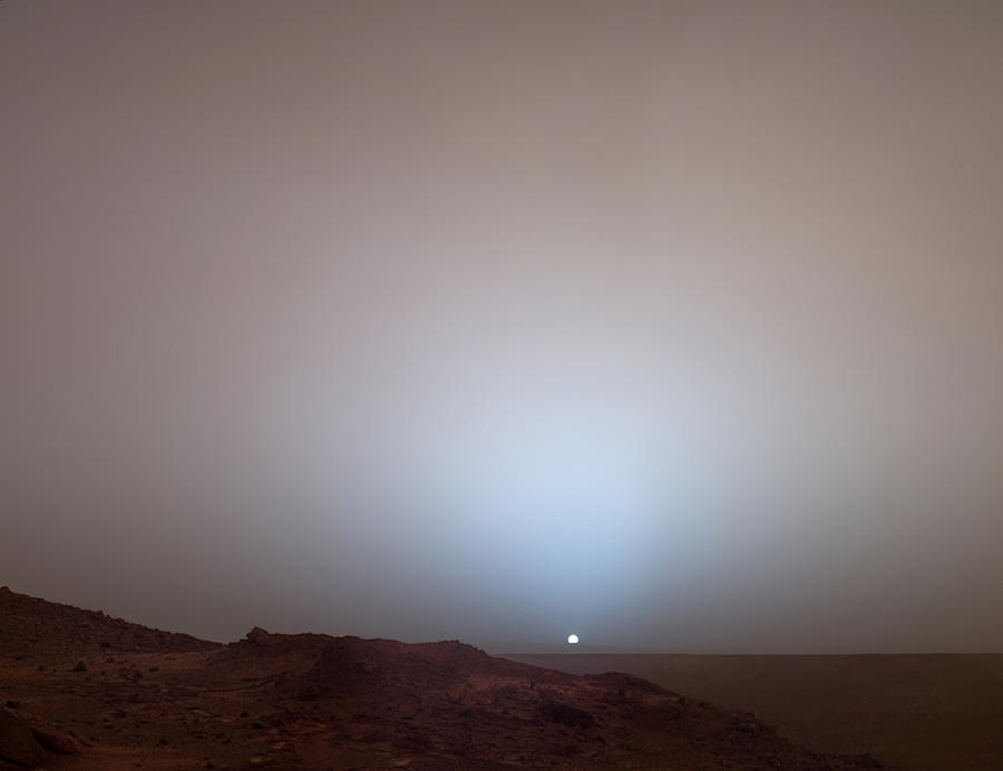 The Sun Setting Below The Rim Of Gusev Photograph