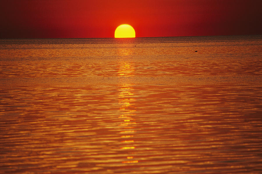 The Sun Sinks Into Pamlico Sound Seen Photograph