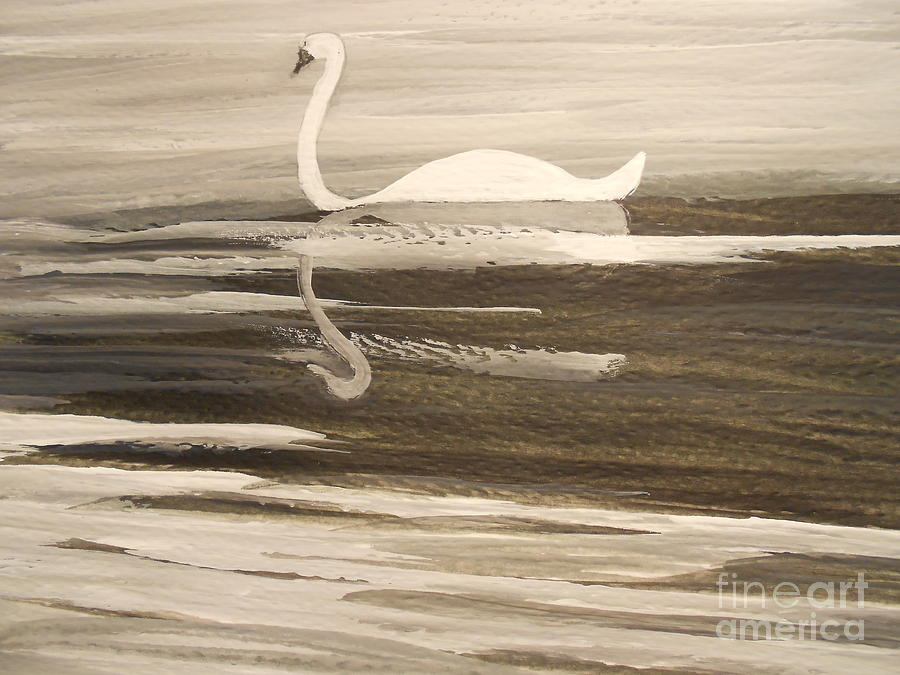 The Swans Song....melody Of Motherhood Painting  - The Swans Song....melody Of Motherhood Fine Art Print
