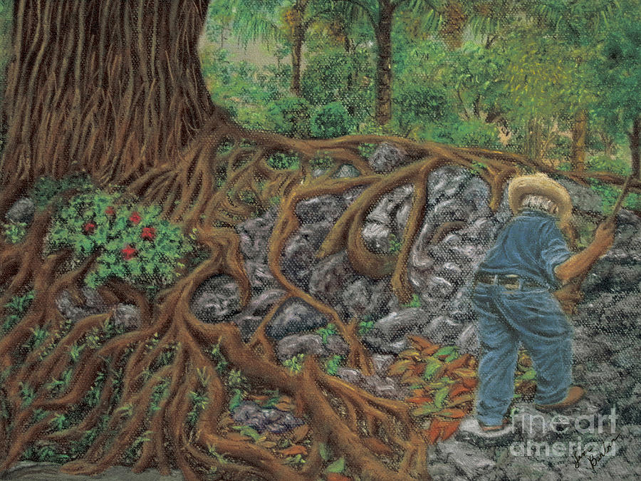 Gardener Pastel Painting Sweeper Impressionistic Working Man Garden Azalea Willow Tree Ahuahuete Sauce Roots Pedestrian Park Painting - The Sweeper by Jim Barber Hove