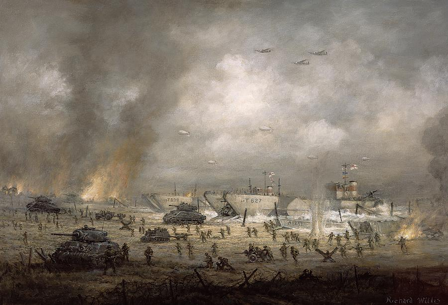 The Tanks Go In - Sword Beach  Painting