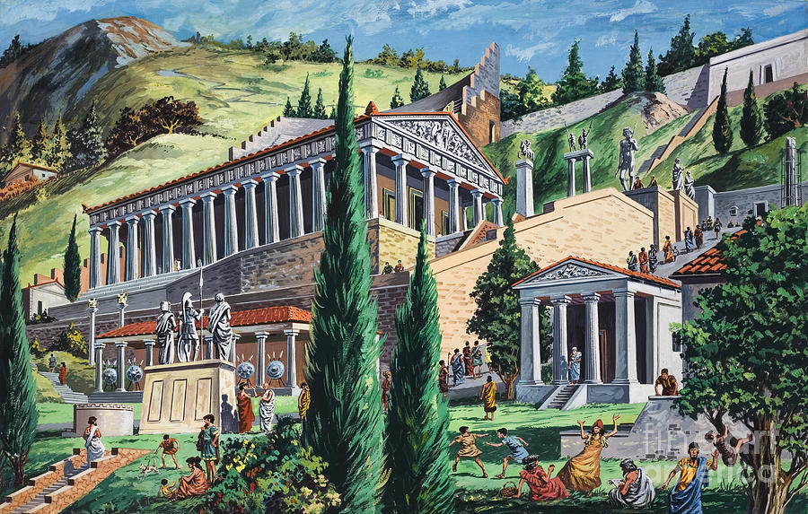 The Temple Of Apollo At Delphi Painting