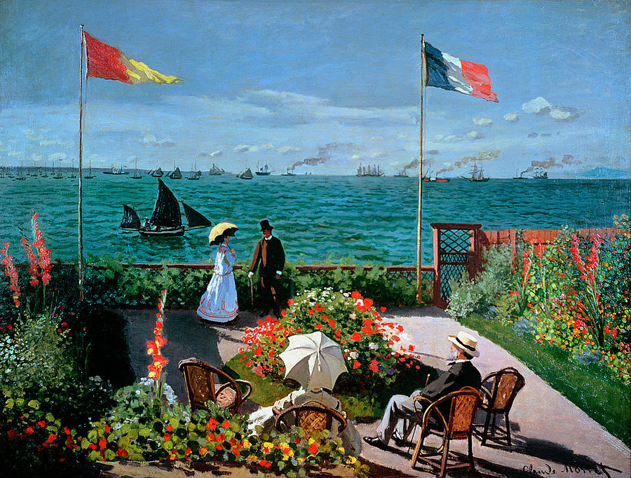 The Terrace At Sainte Adresse Painting  - The Terrace At Sainte Adresse Fine Art Print