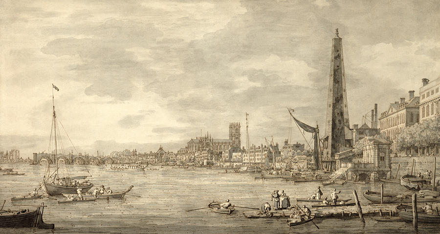 Xyc144093 Photograph - The Thames Looking Towards Westminster From Near York Water Gate  by Giovanni Antonio Canaletto