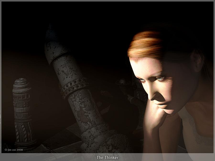 The Thinker Digital Art  - The Thinker Fine Art Print