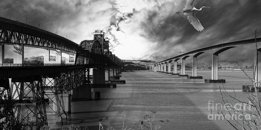 The Three Benicia-martinez Bridges . A Journey Through Time . Black And White Photograph