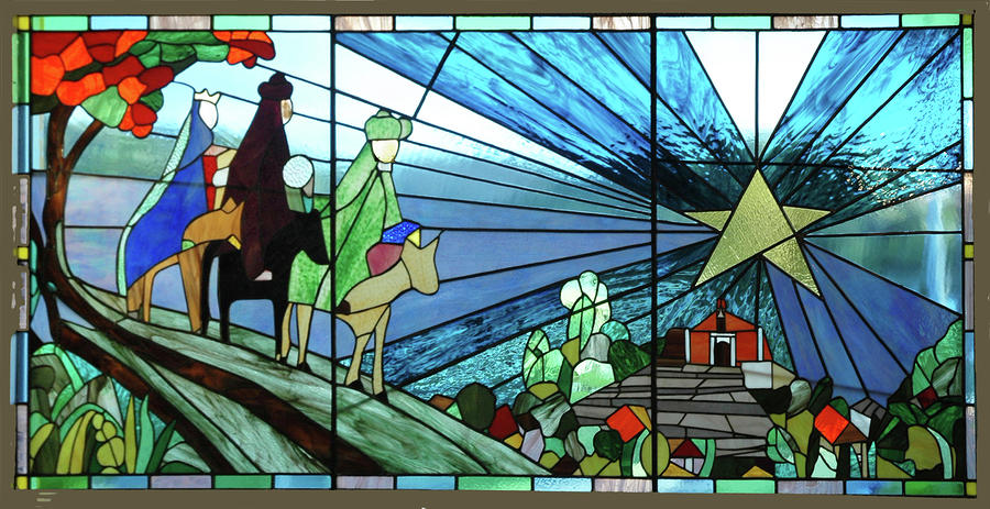 The Three Kings Arriving Porta Coeli. Glass Art  - The Three Kings Arriving Porta Coeli. Fine Art Print
