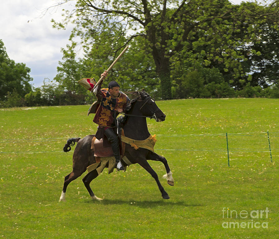 The Toss A Squire Throws A Javelin From Horseback Photograph  - The Toss A Squire Throws A Javelin From Horseback Fine Art Print