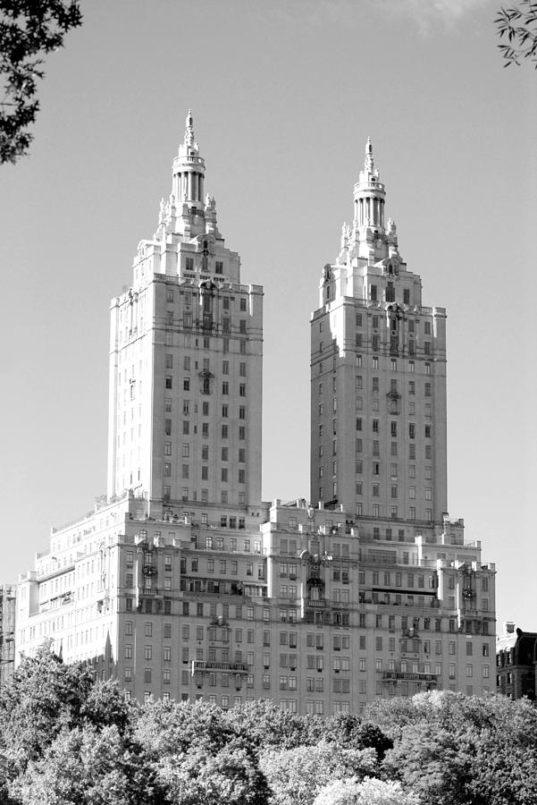 The Towers In Black And White Photograph
