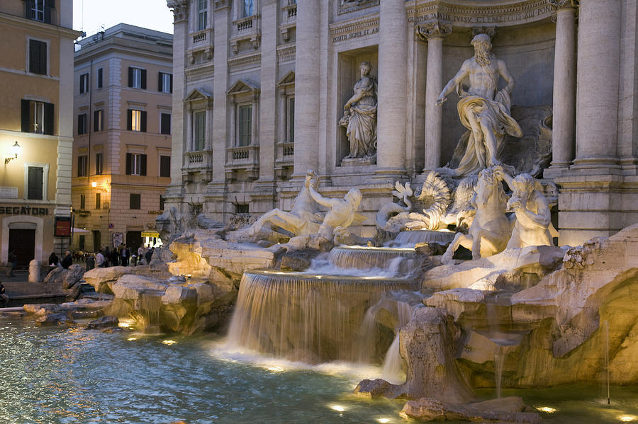 The Trevi Fountain At Dusk Photograph