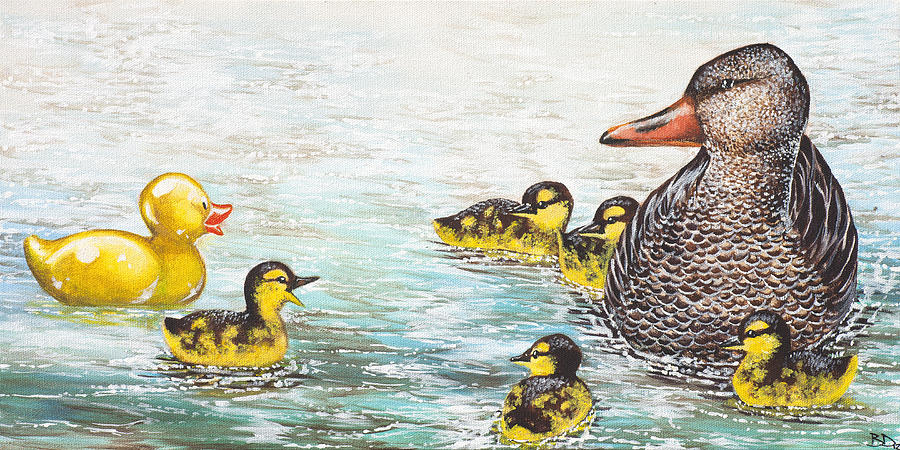 Ducks Painting - The Ugly Duckling by Beth Davies