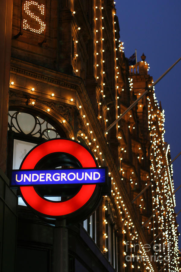 The Underground And Harrods At Night Photograph  - The Underground And Harrods At Night Fine Art Print