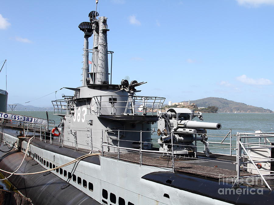 The Uss Pampanito Submarine At Fishermans Wharf With Alcatraz In The Distance.san Francisco.7d14420 Photograph