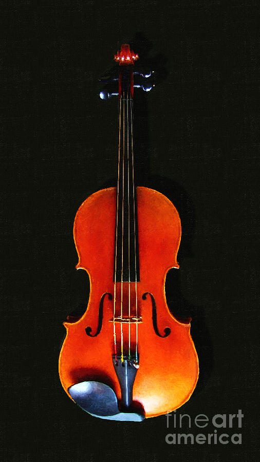 The Violin . Dark Version . Painterly Photograph  - The Violin . Dark Version . Painterly Fine Art Print