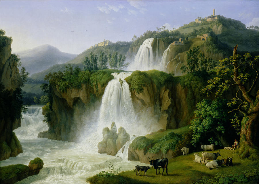 The Waterfall At Tivoli Painting  - The Waterfall At Tivoli Fine Art Print