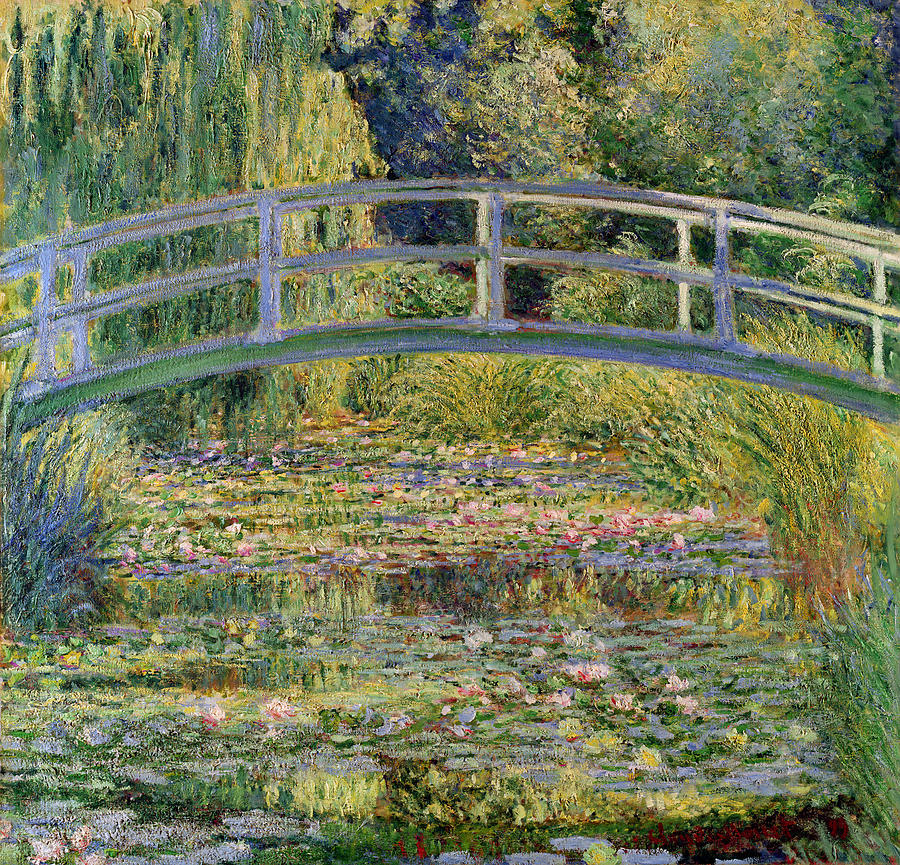 The Waterlily Pond With The Japanese Bridge Painting  - The Waterlily Pond With The Japanese Bridge Fine Art Print