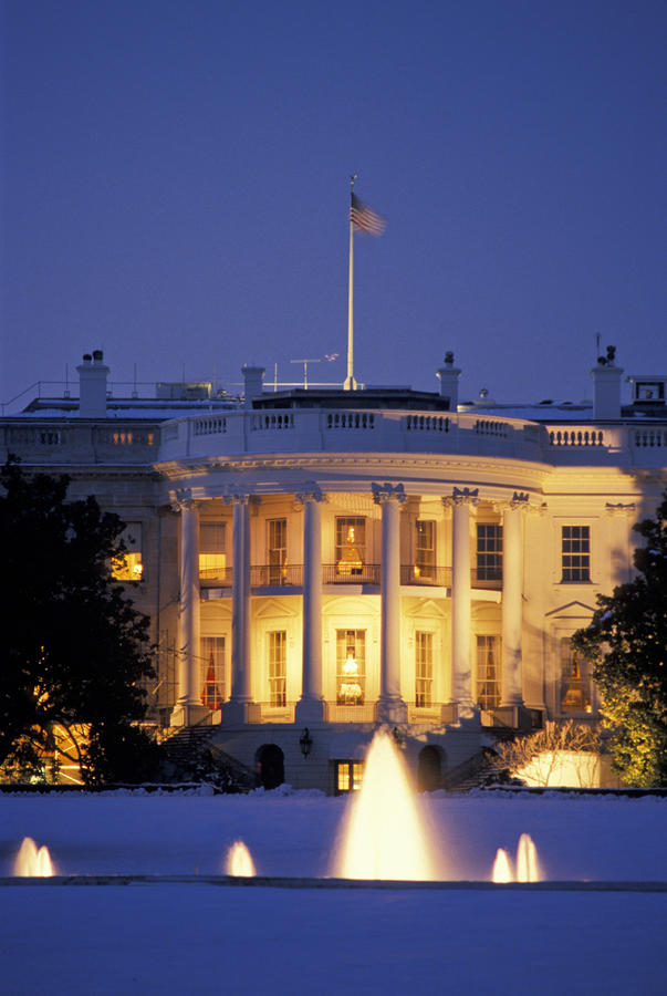 The White House South Portico At Dusk Photograph