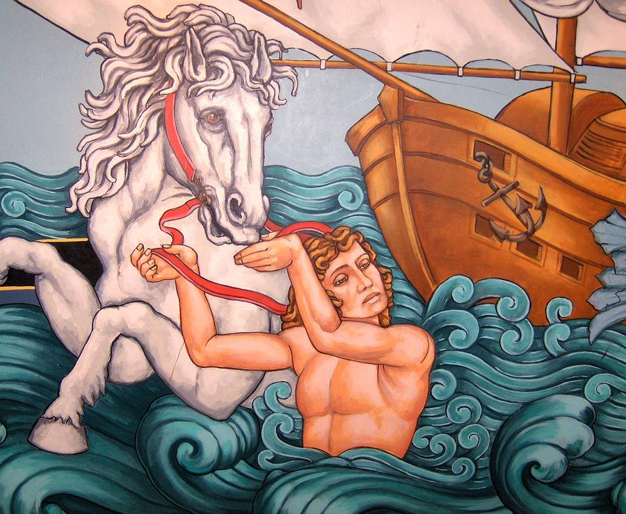 The White Stallion - Art Deco Painting