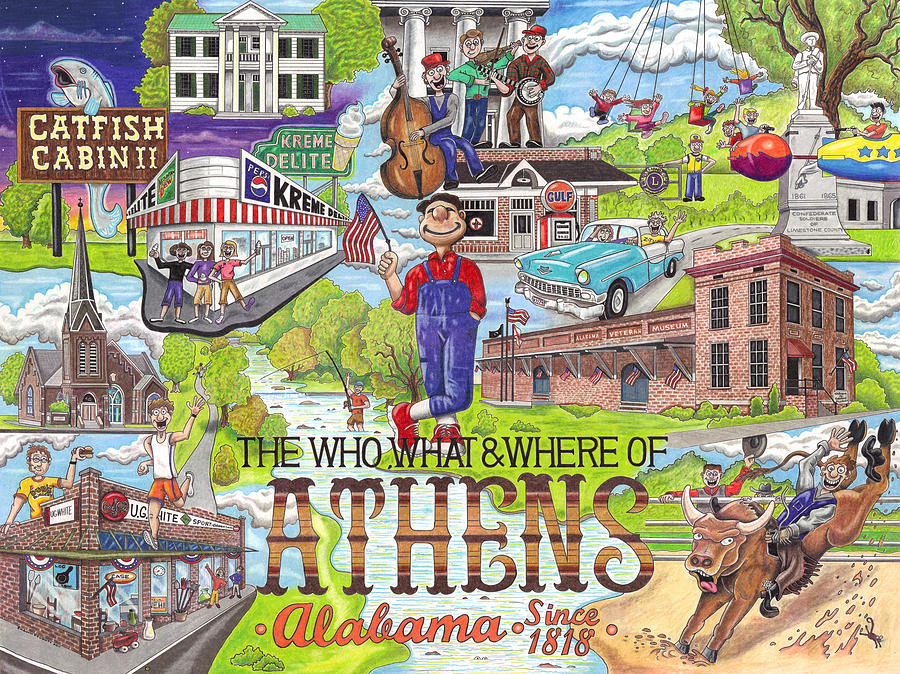The Who What And Where Of Athens Alabama Drawing  - The Who What And Where Of Athens Alabama Fine Art Print