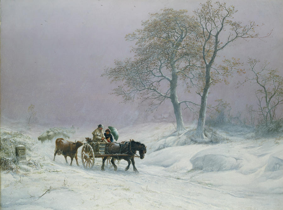 The Wintry Road To Market  Painting