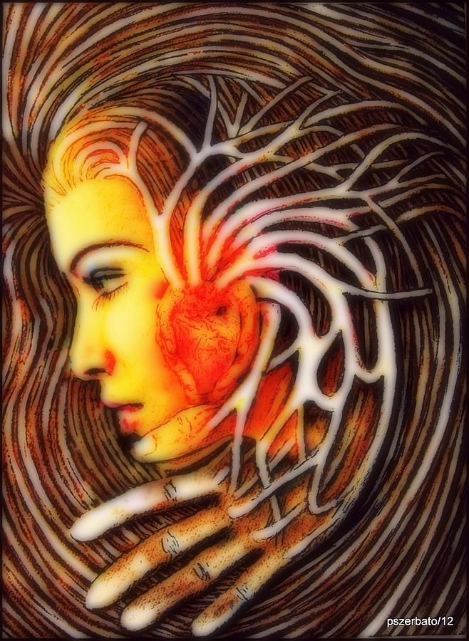 The Woman Thinks With The Heart Digital Art