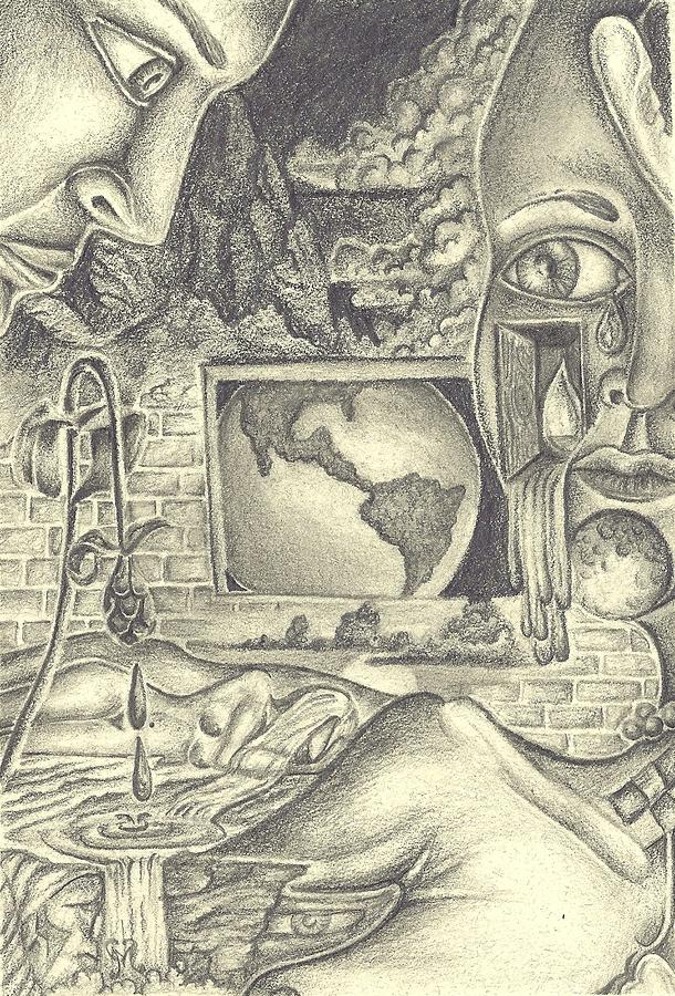 The World Cries Drawing  - The World Cries Fine Art Print