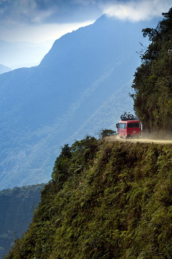 Vertical Photograph - The Worlds Most Dangerous Road, Bolivia by John Coletti
