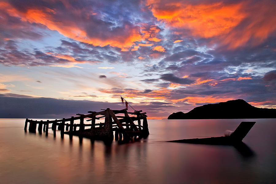 The Wreck In Sea With Fantastic Sky Photograph