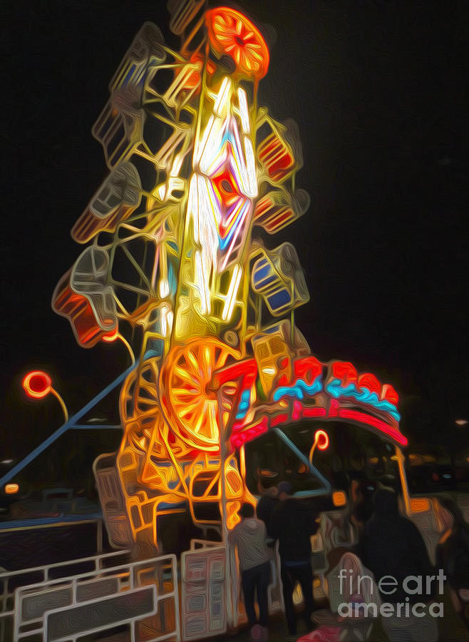Carnival Painting - The Zipper - Carnival Ride by Gregory Dyer