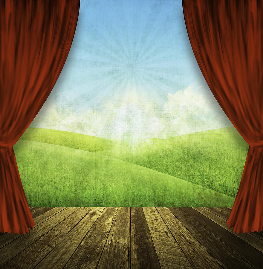 Theater Stage With Red Curtains And Nature Background  Painting  - Theater Stage With Red Curtains And Nature Background  Fine Art Print