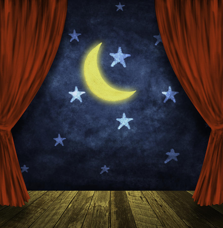 Theater Stage With Red Curtains And Night Background  Painting