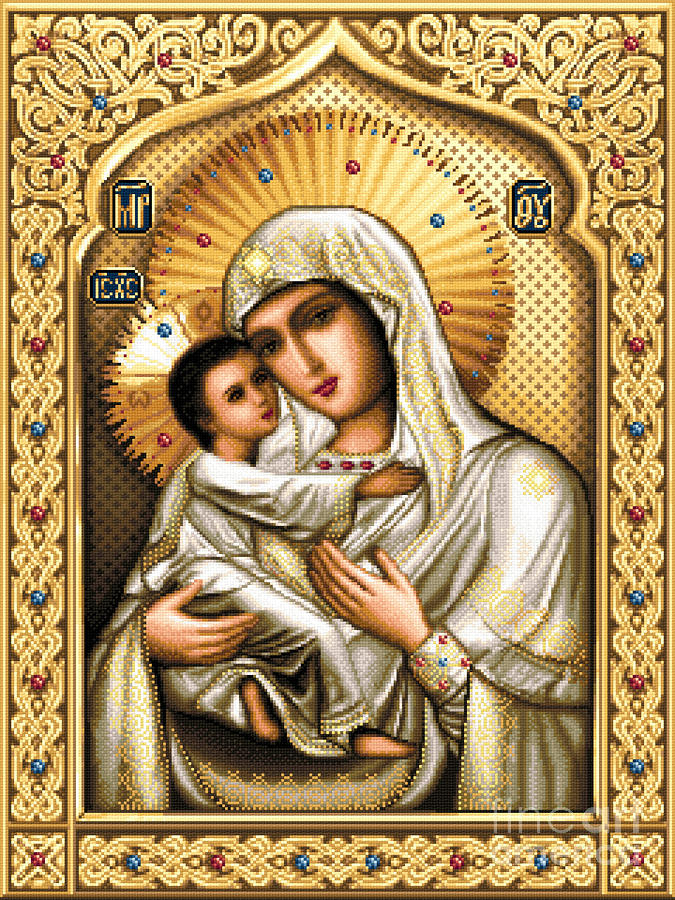 Theotokos Of Tenderness Tapestry - Textile  - Theotokos Of Tenderness Fine Art Print