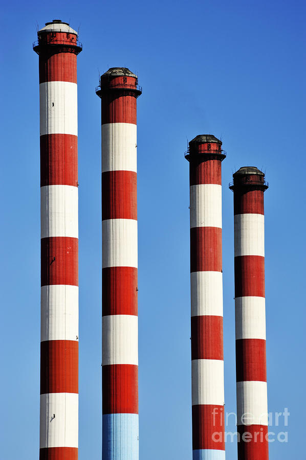 Thermal Powerplant Chimneys Photograph  - Thermal Powerplant Chimneys Fine Art Print