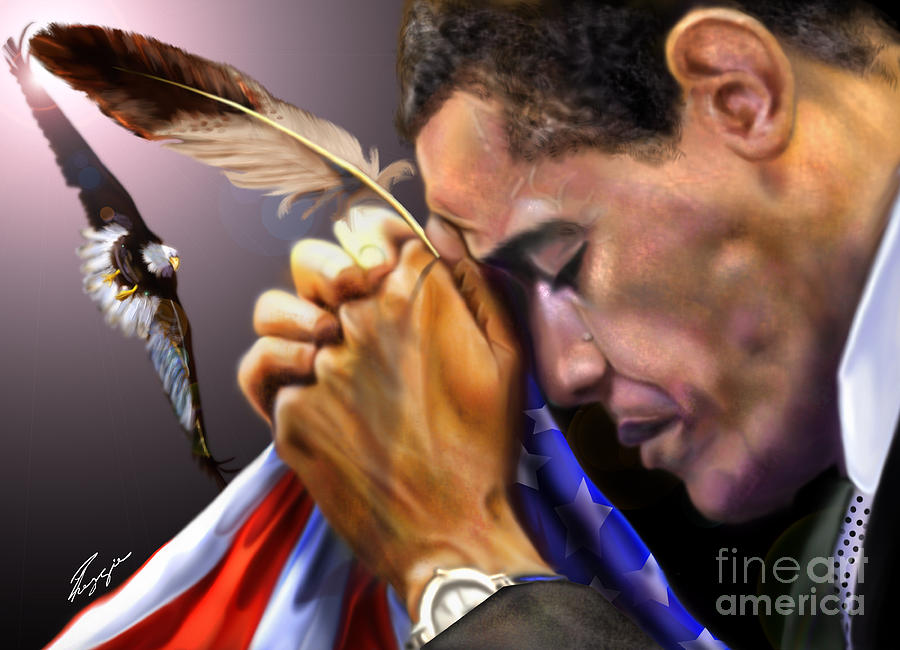 American Flag Painting - They Shall Mount Up With Wings Like Eagles -  President Obama  by Reggie Duffie