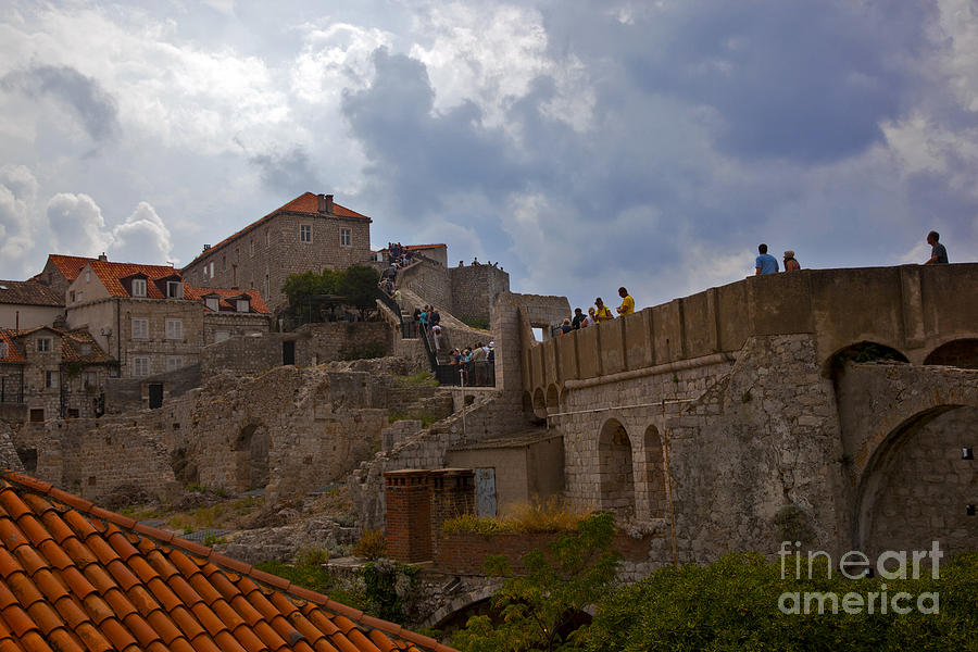 They Walk The Wall In Dubrovnik Photograph  - They Walk The Wall In Dubrovnik Fine Art Print