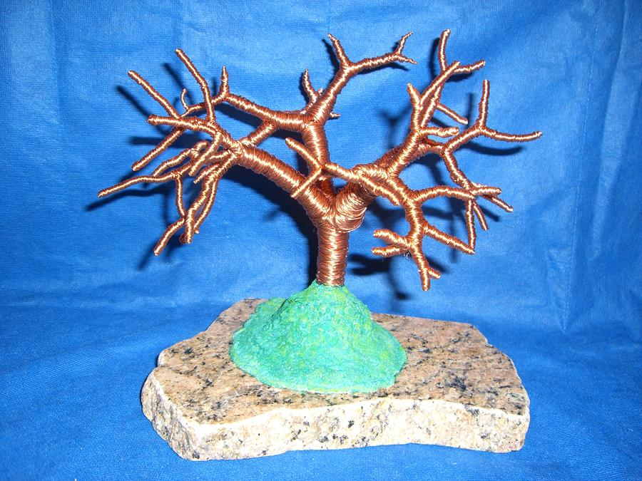 Thick 24 Gauge Copper Wire Tree On Brown And Black Marble Or Granite Slab Sculpture