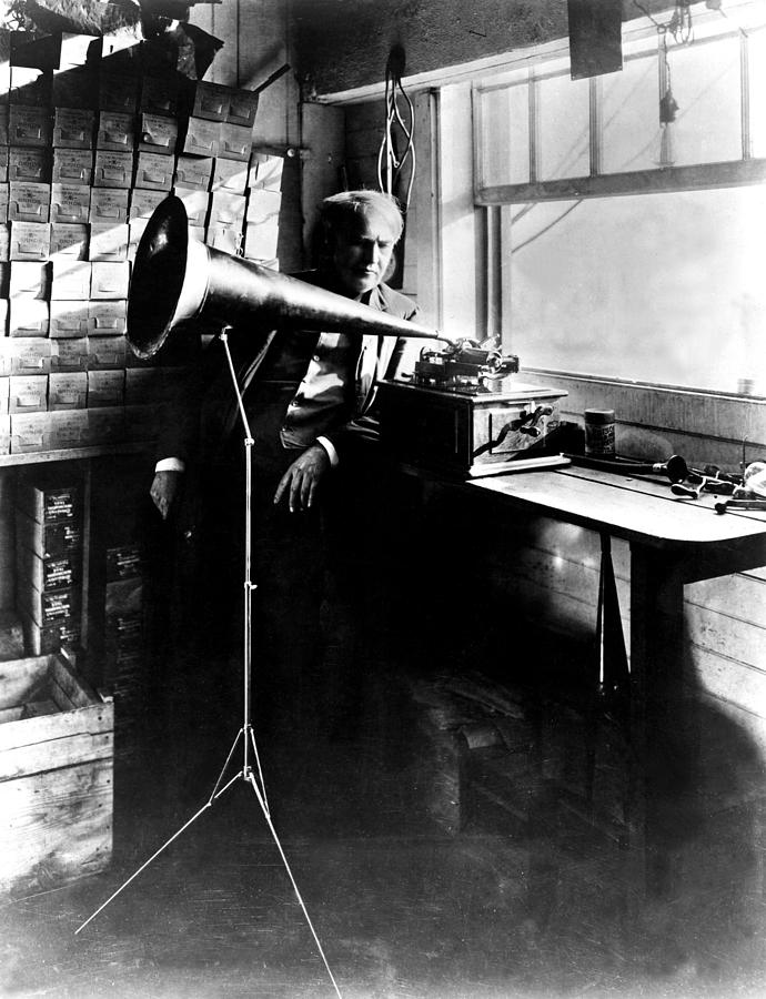 Thomas Edison With His New Invention Photograph