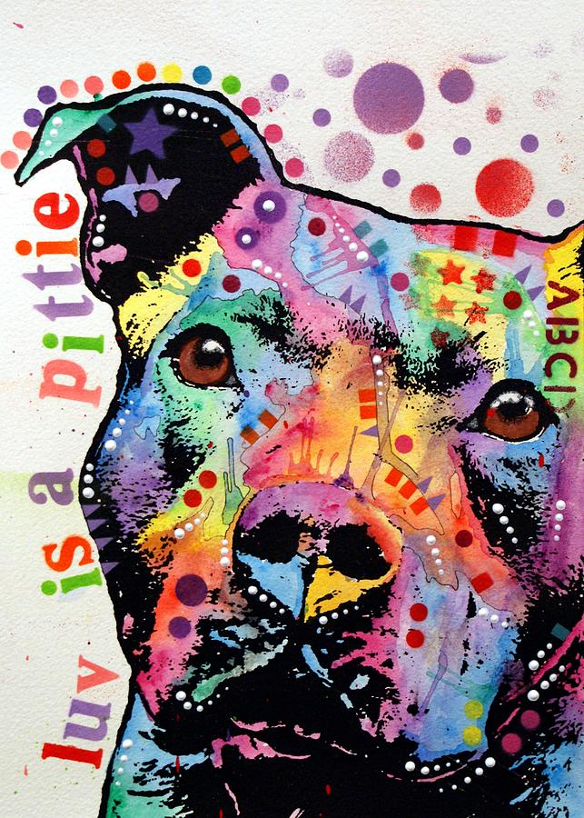 Thoughtful Pitbull Luv Is A Pittie Painting  - Thoughtful Pitbull Luv Is A Pittie Fine Art Print