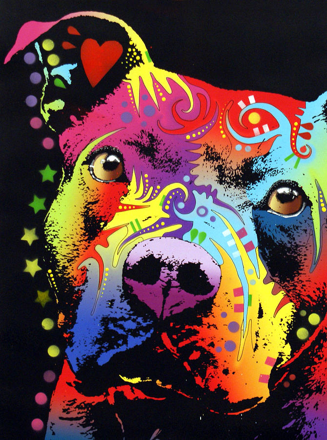 Thoughtful Pitbull Warrior Heart Painting  - Thoughtful Pitbull Warrior Heart Fine Art Print