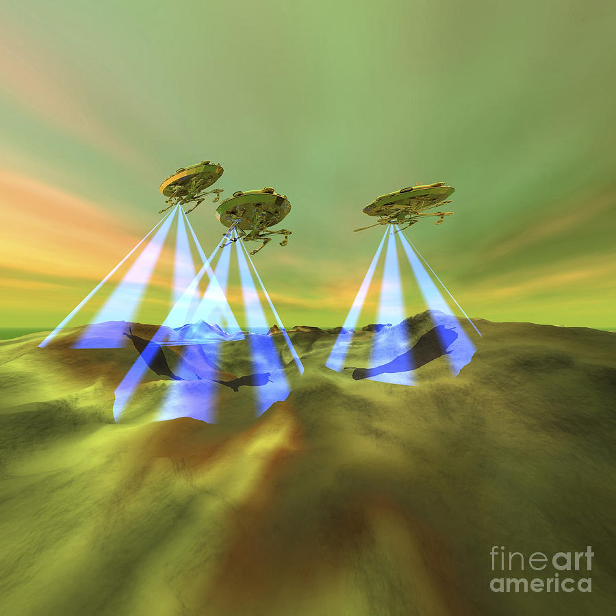 Three Alien Spaceships Steal Digital Art  - Three Alien Spaceships Steal Fine Art Print
